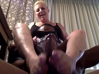 Mother-In Law Loves Playing with my Black Cock with Oil.
