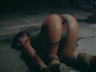 Lara tied, gagged and fucked by machine